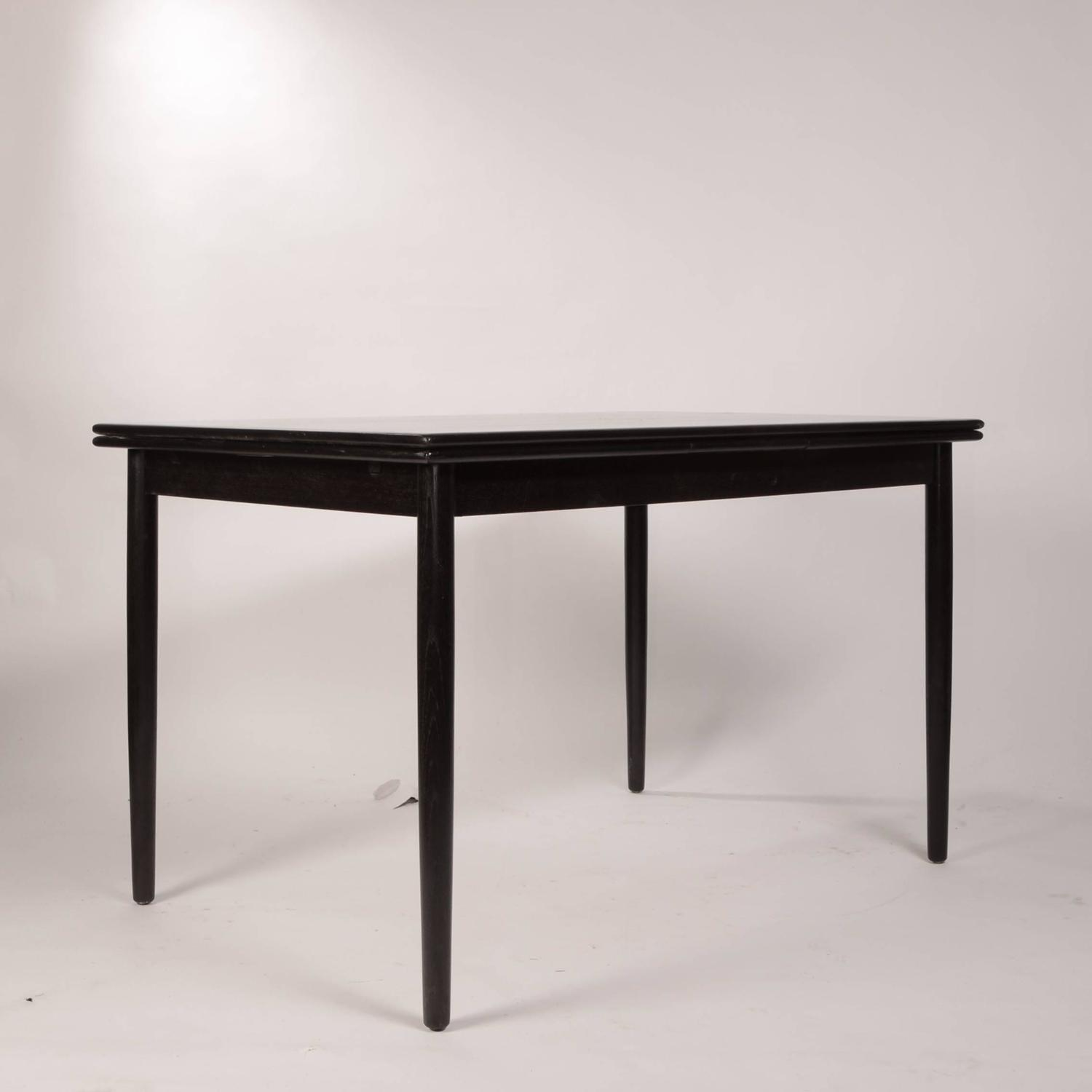 Danish modern draw leaf dining table in ebonized teak at for 3 leaf dining room tables
