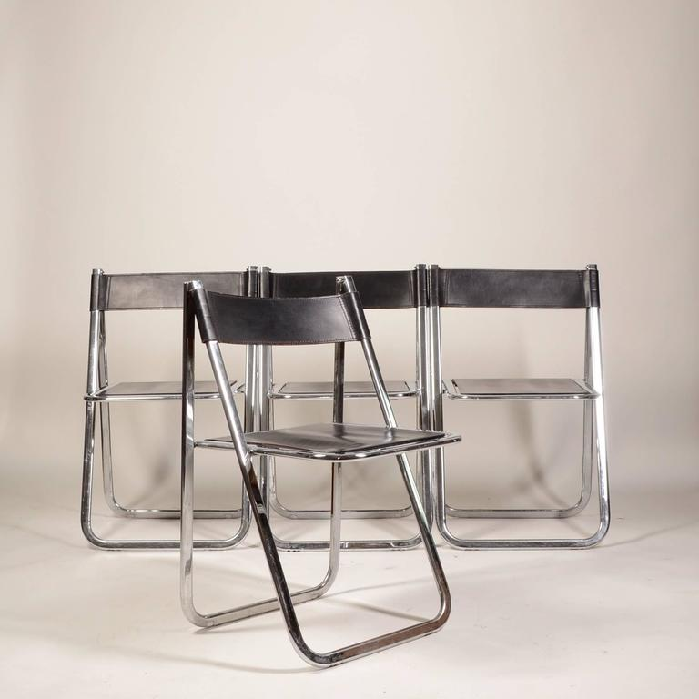 Modern Vintage 1970 Tamara Model Folding Leather And Chrome Chairs By  Arrben For Sale
