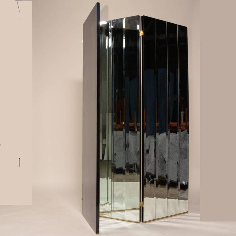 American Modern Henredon Beveled Mirror Room Divider For Sale