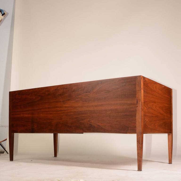 American French Modern Walnut Executive Desk For Sale