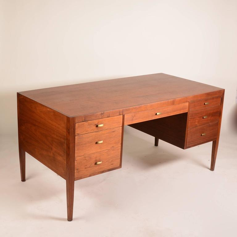 French Modern Walnut Executive Desk In Excellent Condition For Sale In Los Angeles, CA