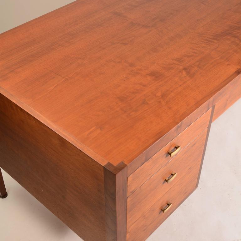 Glass French Modern Walnut Executive Desk For Sale