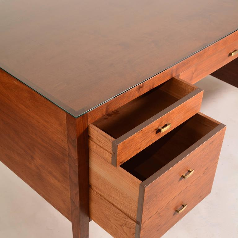 French Modern Walnut Executive Desk For Sale 1