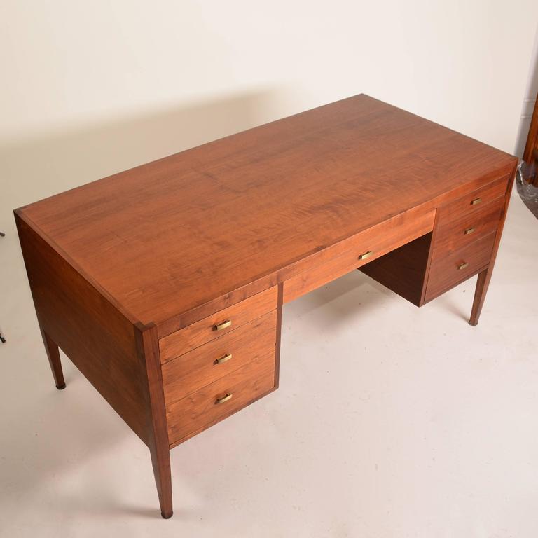 French Modern Walnut Executive Desk For Sale 2