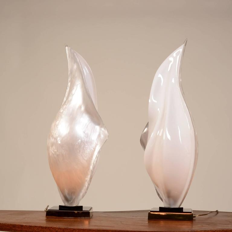 Rougier Acrylic Resin And Brass Lamps For Sale At 1stdibs