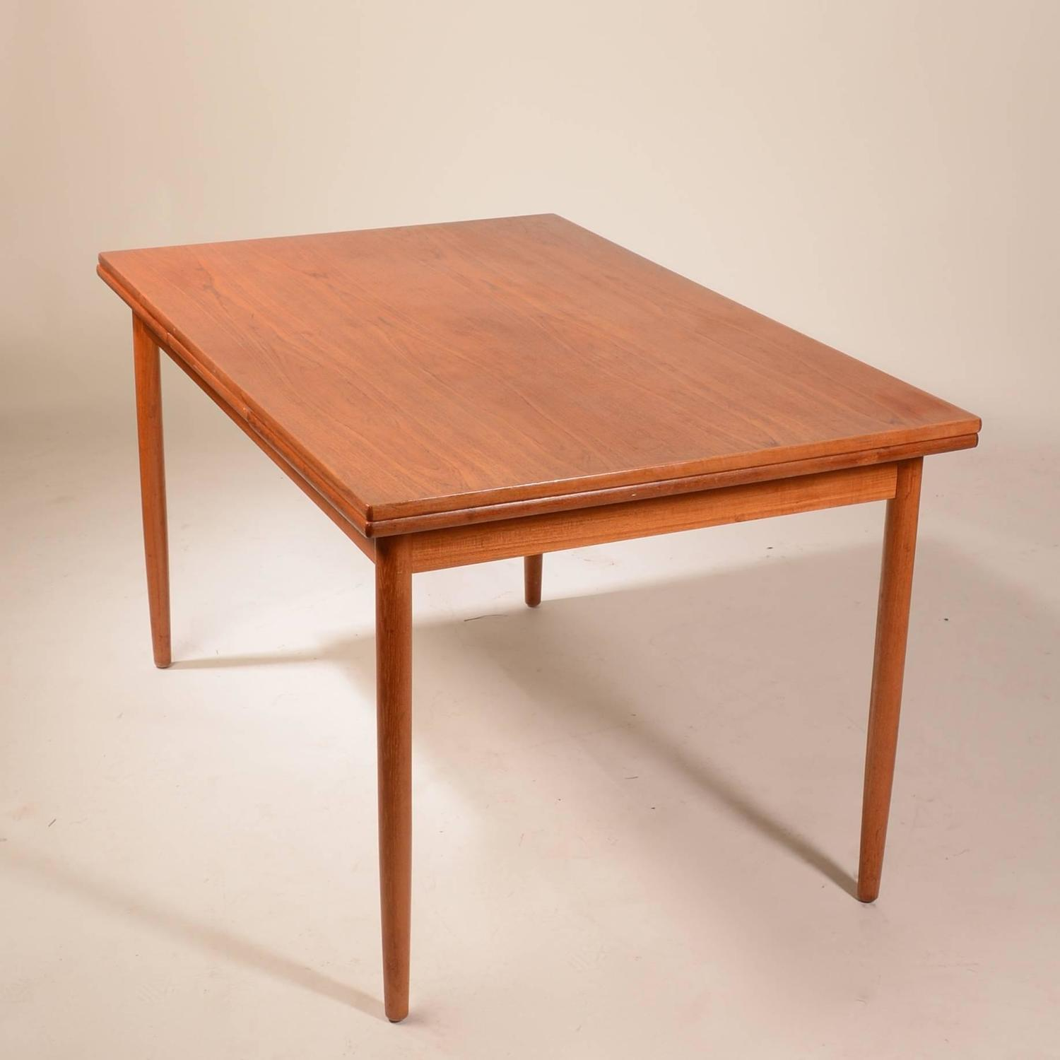 Danish Modern Draw Leaf Extendable Dining Table At 1stdibs