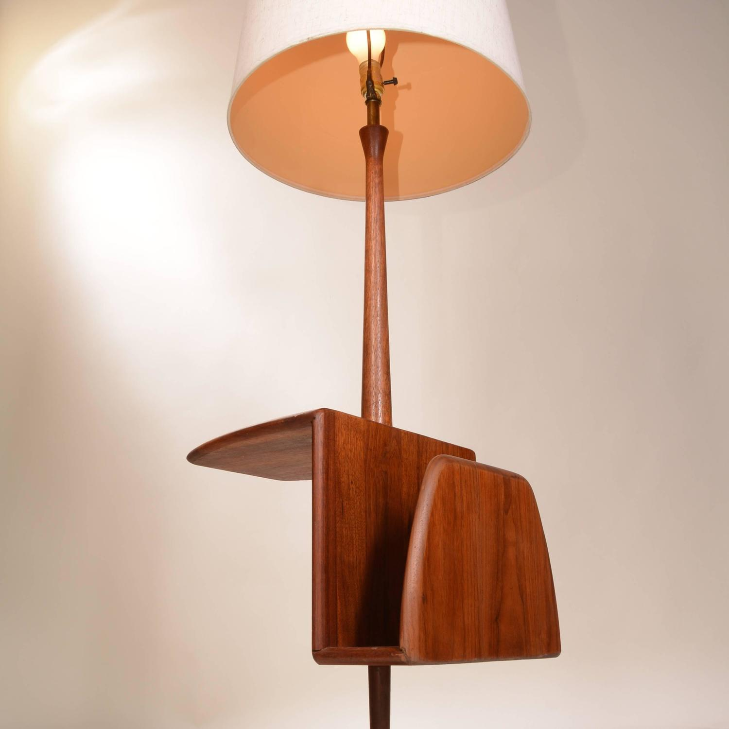 modern combination floor lamp and magazine stand by laurel at 1stdibs. Black Bedroom Furniture Sets. Home Design Ideas