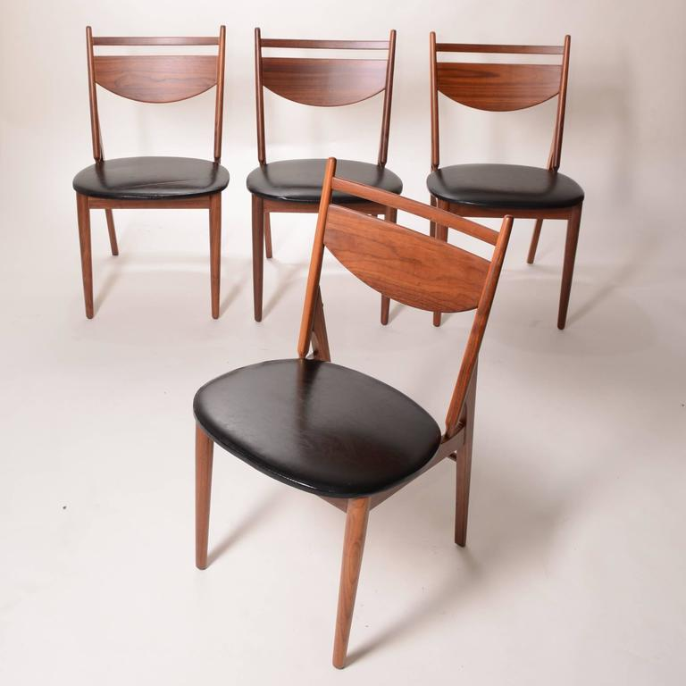 Set of Four Greta Grossman Walnut Dining by Glenn of California 2