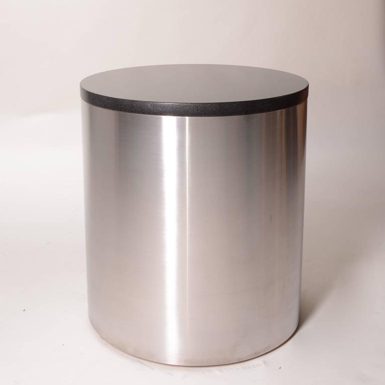 Brushed stainless steel and marble drum table by Milo Baughman for Thayer Coggin. This piece is in excellent condition. From the estate of the late great composer Gary Geld.  This item is located at our east Hollywood showroom. Please come see our