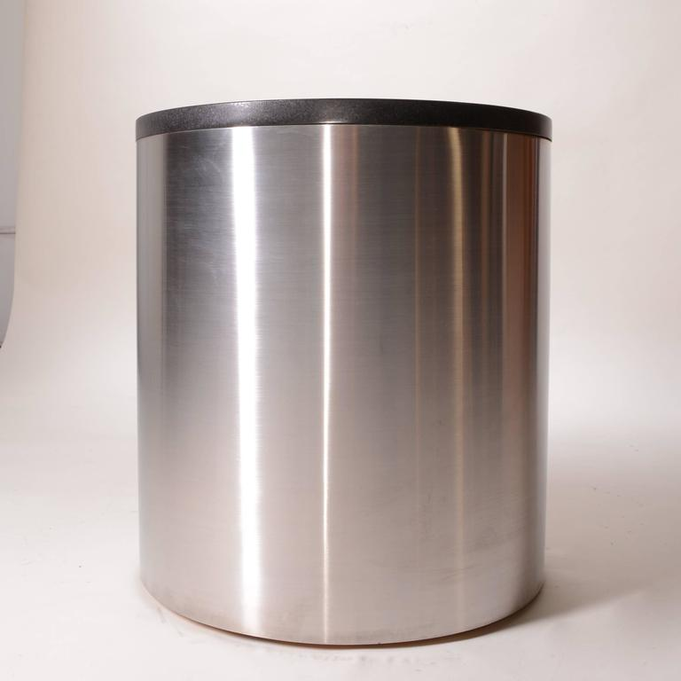 American Brushed Stainless Steel and Marble Drum Table by Milo Baughman For Sale