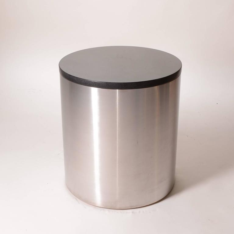 Brushed Stainless Steel and Marble Drum Table by Milo Baughman In Excellent Condition For Sale In Los Angeles, CA