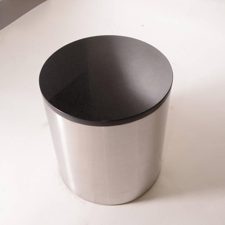 Late 20th Century Brushed Stainless Steel and Marble Drum Table by Milo Baughman For Sale