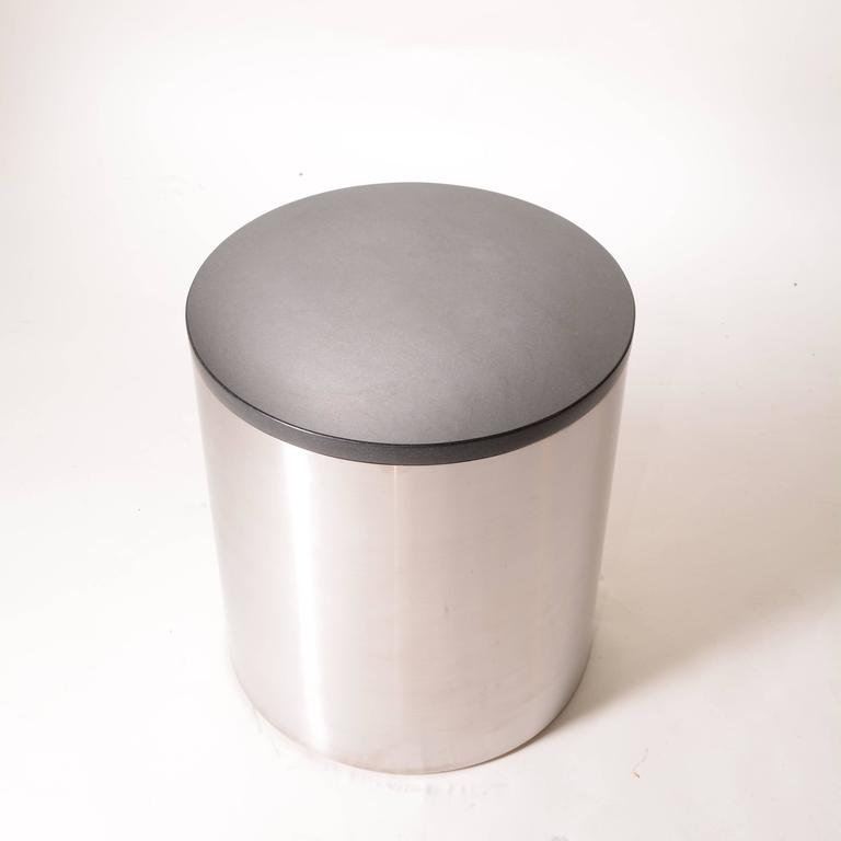 Belgian Black Marble Brushed Stainless Steel and Marble Drum Table by Milo Baughman For Sale