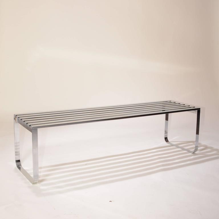 American Milo Baughman for DIA Chrome Slat Bench For Sale