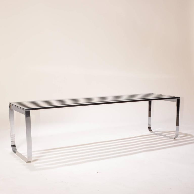 Milo Baughman for DIA Chrome Slat Bench In Excellent Condition For Sale In Los Angeles, CA