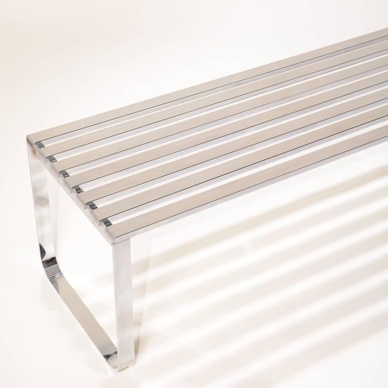 Milo Baughman for DIA Chrome Slat Bench For Sale 1