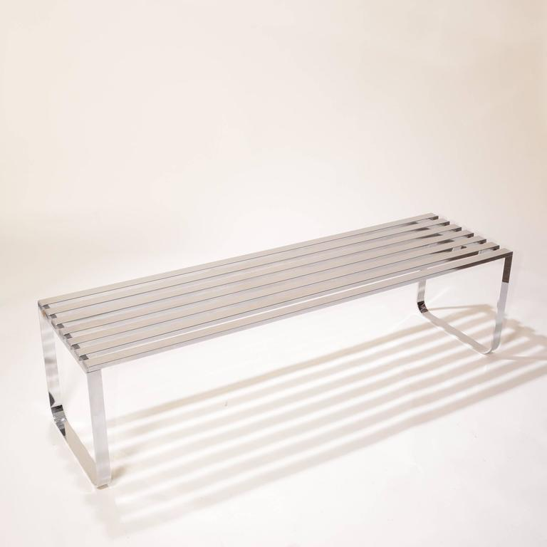 Late 20th Century Milo Baughman for DIA Chrome Slat Bench For Sale