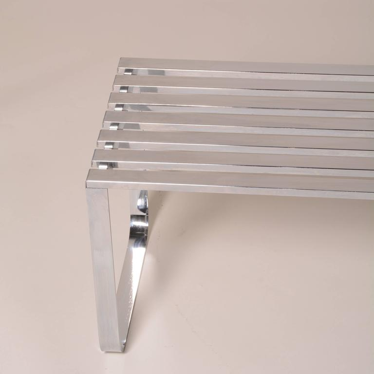 Milo Baughman for DIA Chrome Slat Bench For Sale 2