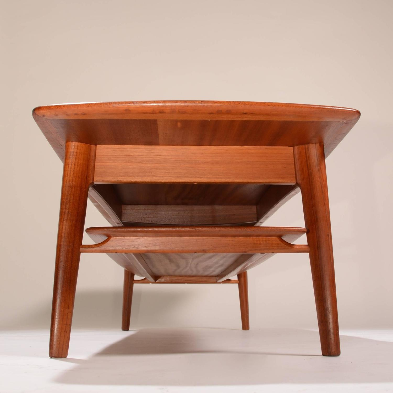 Early danish modern teak coffee table with bottom shelf for sale at 1stdibs Modern teak coffee table