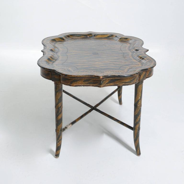 Hand Painted Tiger Print Coffee Table By Maitland Smith For Sale At 1stdibs