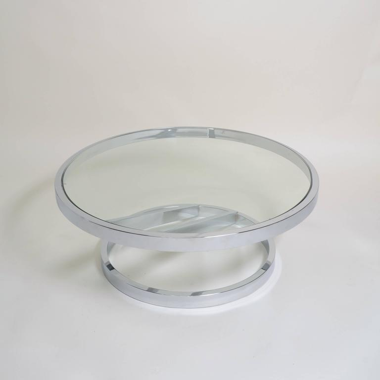 Milo Baughman coffee table, beautiful, bright chrome with thick glass top.
