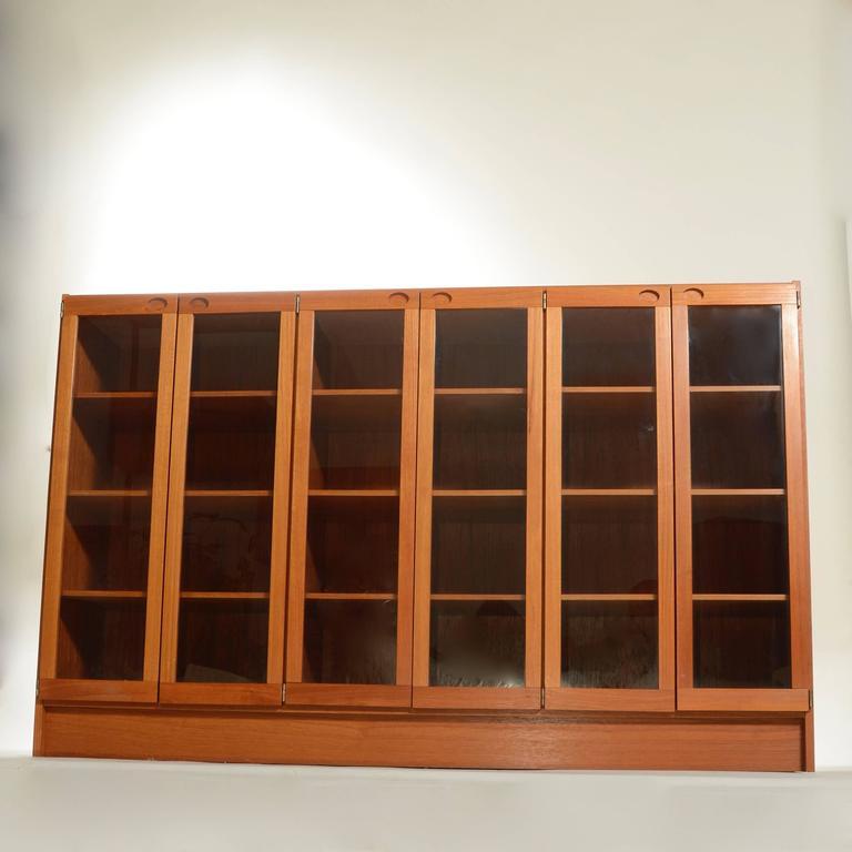Scandinavian Modern Mid-Century Modern Danish Teak Glass Door Cabinet For Sale