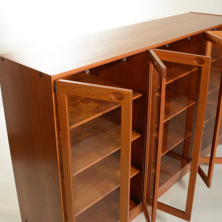 Cut Glass Mid-Century Modern Danish Teak Glass Door Cabinet For Sale
