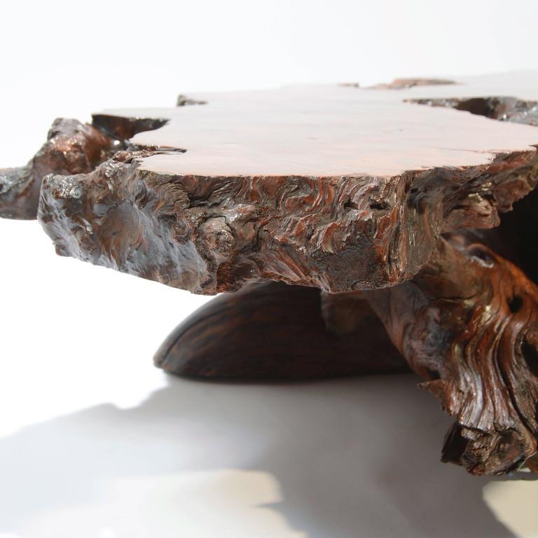 Vintage Burl Wood Slab Coffee Table At 1stdibs: Nakashima Style Natural Burl Wood Stump Coffee Table For