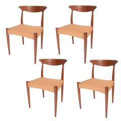 Set of Four Arne Hovmand Olsen for Mogens Kold, Teak and Cord Dining Chairs