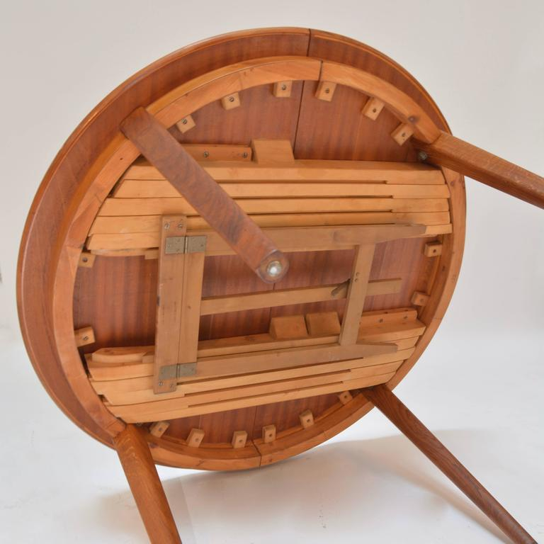 Henning Kjaernulf Teak Round Table with One Leaf For Sale 1