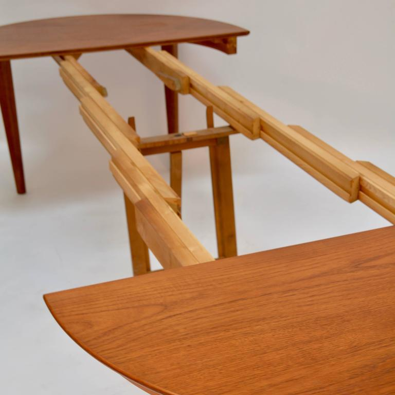Henning Kjaernulf Teak Round Table with One Leaf For Sale 2