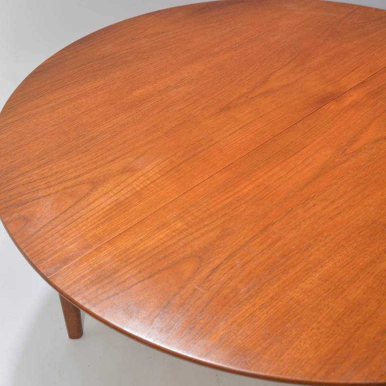 Henning Kjaernulf Teak Round Table with One Leaf For Sale 3