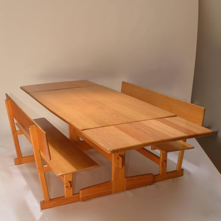 Merveilleux Gerald McCabe Oak Trestle Dining Table And Benches For Orange Crate Modern  In Good Condition For