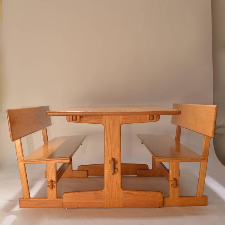 American Gerald McCabe Oak Trestle Dining Table And Benches For Orange Crate  Modern For Sale