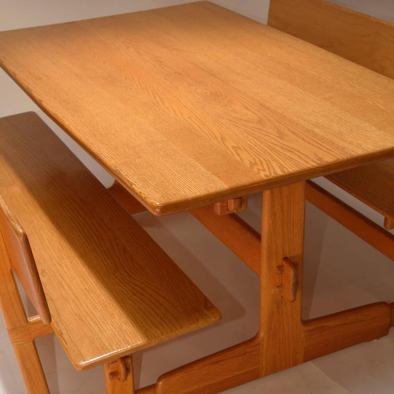 Charmant Late 20th Century Gerald McCabe Oak Trestle Dining Table And Benches For Orange  Crate Modern For
