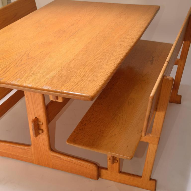 Gerald McCabe Oak Trestle Dining Table And Benches For Orange Crate Modern  For Sale 1