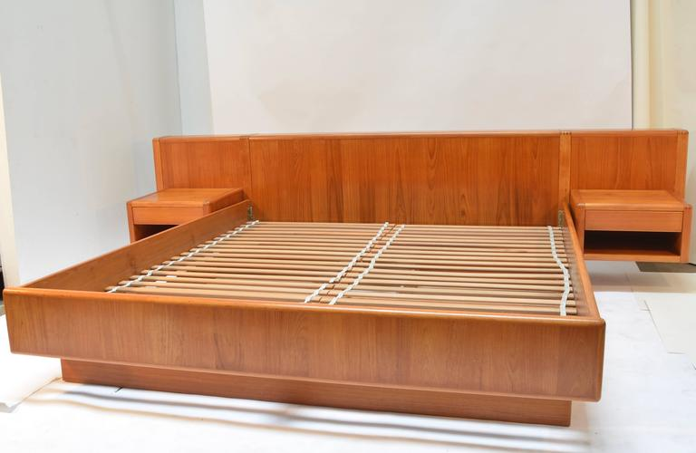 Nordisk andels eksport danish modern teak california king for Floating platform bed with storage