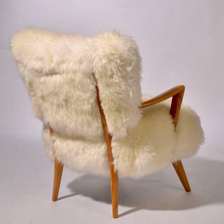 Sheepskin And Maple Heywood Wakefield Lounge Chair At 1stdibs