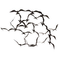 Flock of Seagulls Black Brass Sculpture by Bijan