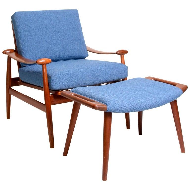 Finn Juhl Teak FD133 Spade Chair and Hans Wegner Ottoman