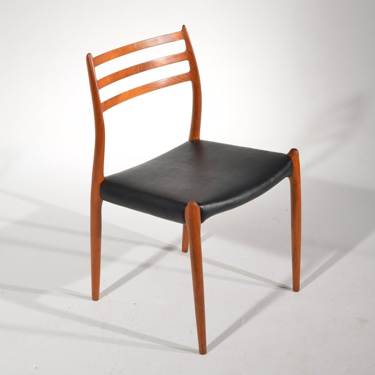 Scandinavian Modern Niels O. Møller Dining Chairs Model 78 by J.L Møllers Møbelfabrik in Denmark For Sale