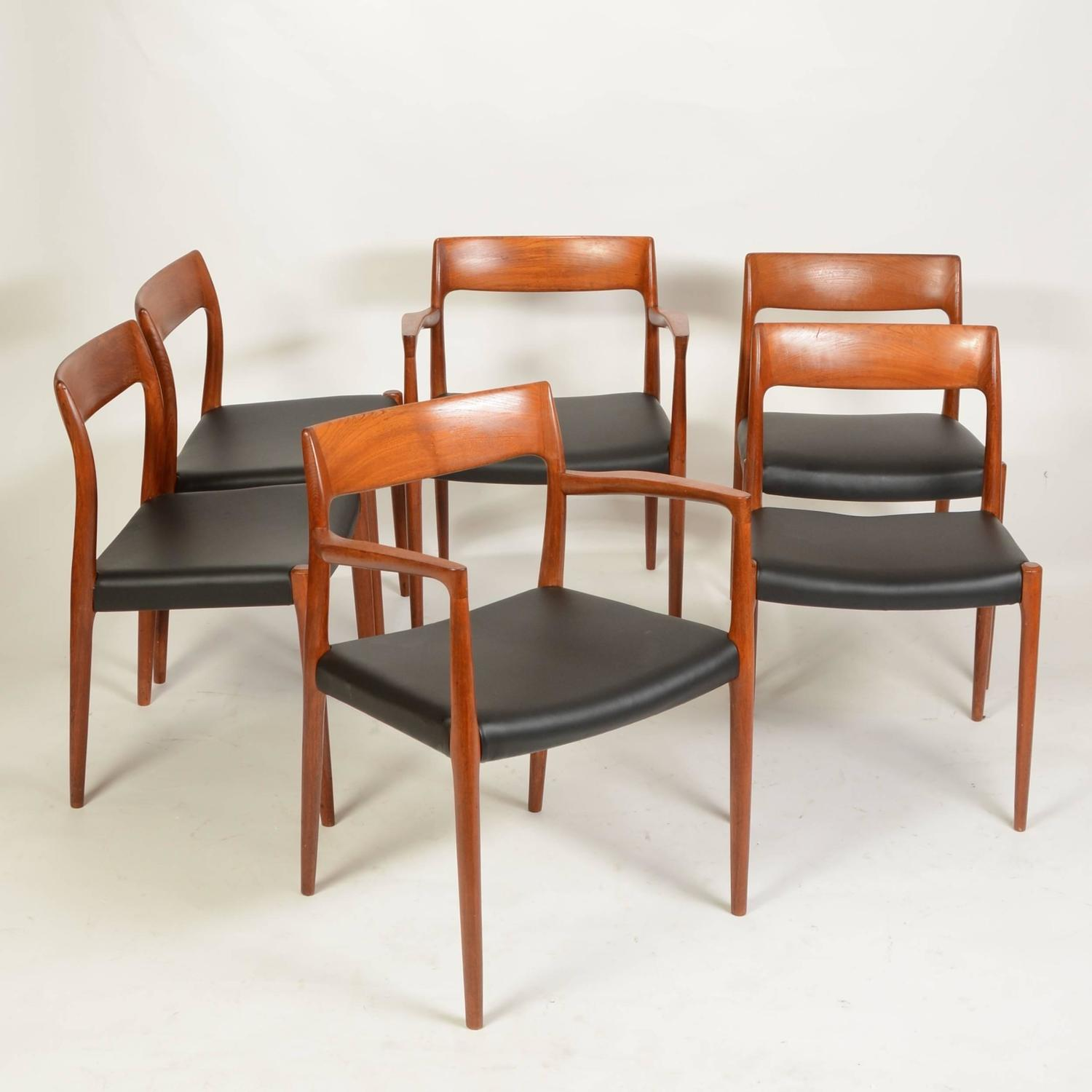 set of six no 77 teak dining chairs by niels moller for j