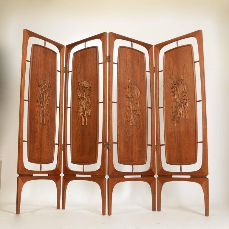 Danish Sculptural Four-Panel Folding Teak Screen Room Divider For Sale