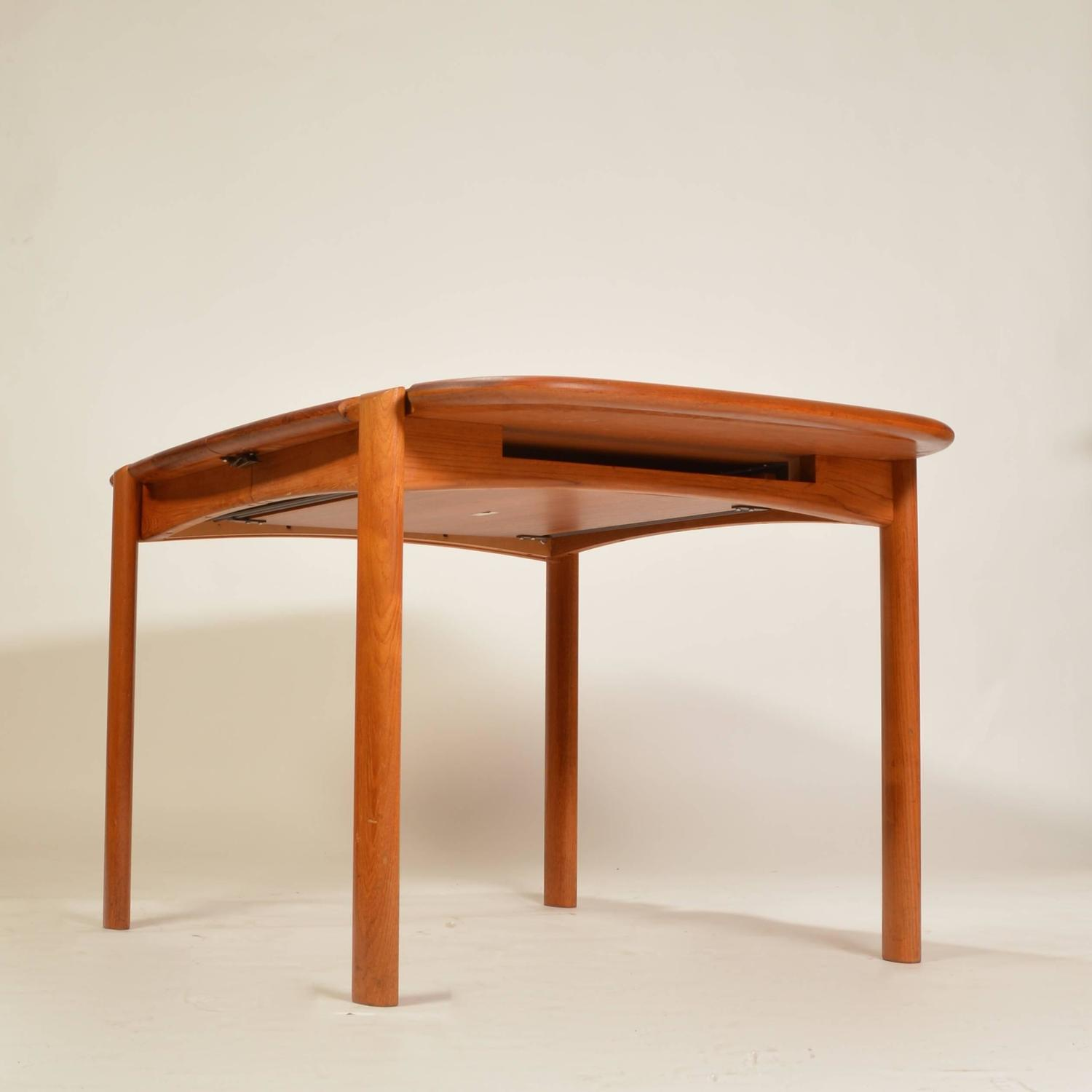Solid Teak Danish Modern Dining Table With Two Extension