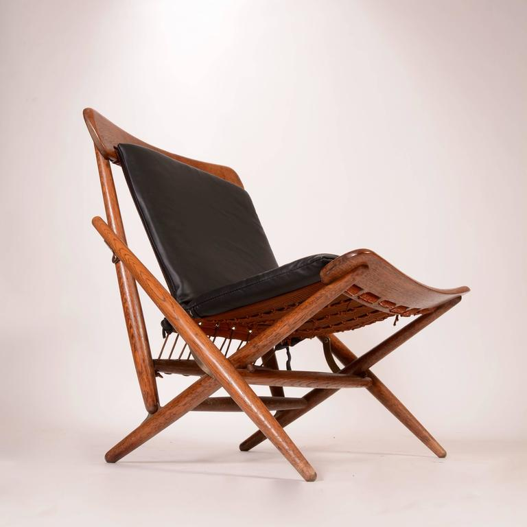 danish teak and leather folding side chair for sale at 1stdibs