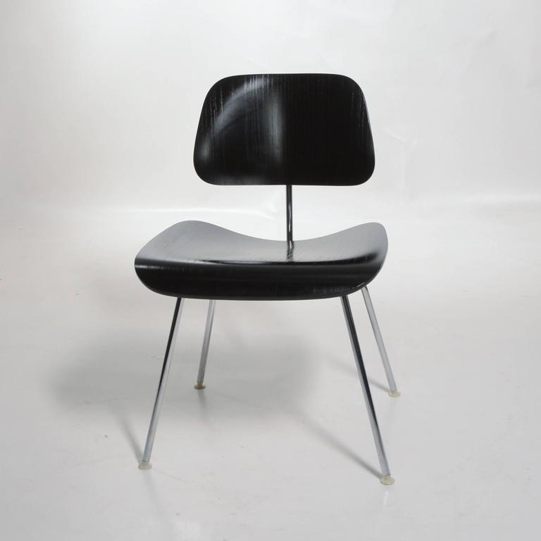 Mid-Century Modern Black Eames DCM Chairs For Sale