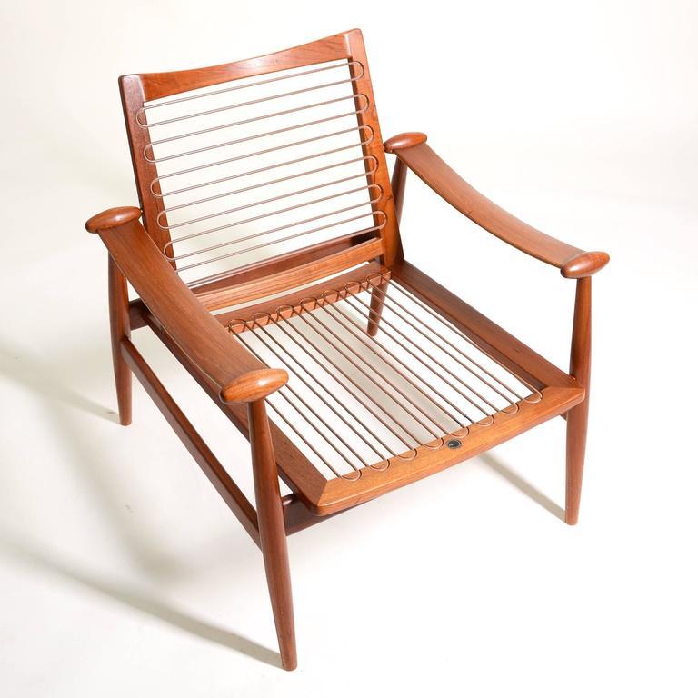 Finn Juhl Teak FD133 Spade Chair And Hans Wegner Ottoman At 1stdibs