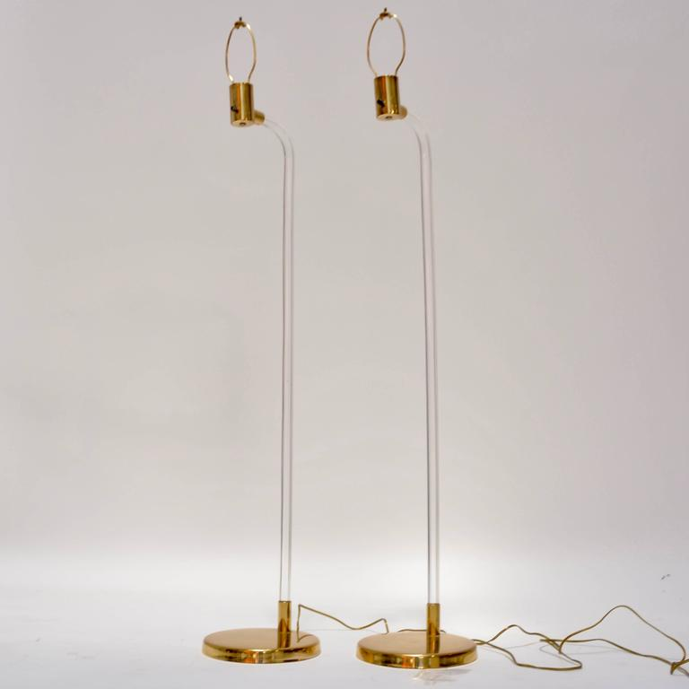 Pair of peter hamburger for knoll lucite and brass floor lamps for this is a pair of lucite and brass floor lamps designed by peter hamburger for knoll mozeypictures Gallery