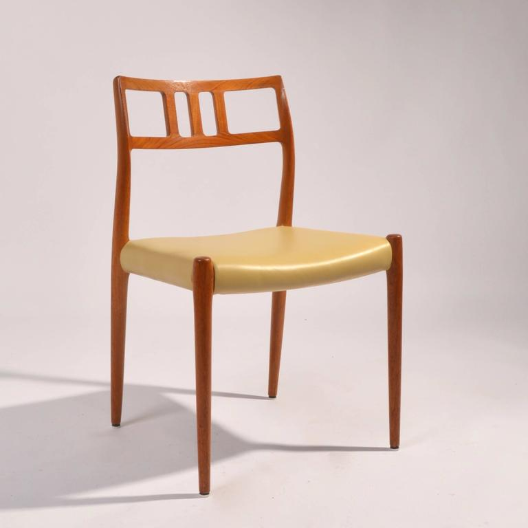 Scandinavian Modern Eight J.L. Møller Model 79 Dining Chairs by Niels Møller in Leather For Sale