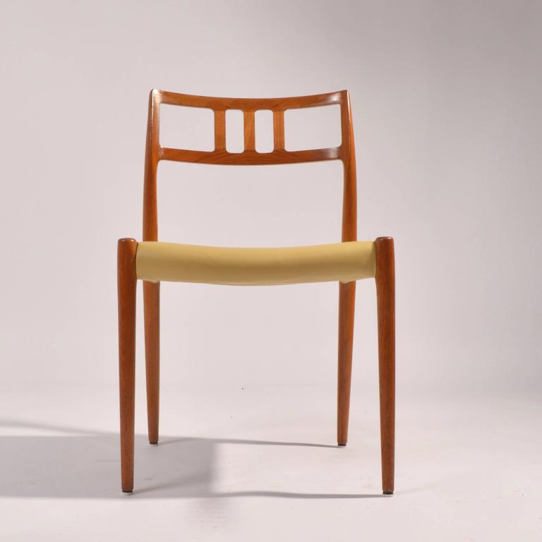 Danish Eight J.L. Møller Model 79 Dining Chairs by Niels Møller in Leather For Sale